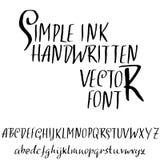 难看的东西困厄字体 现代烘干刷子墨水信件 手写的字母表 也corel凹道例证向量 向量例证