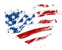 难看的东西在心脏形状的美国旗子 库存照片