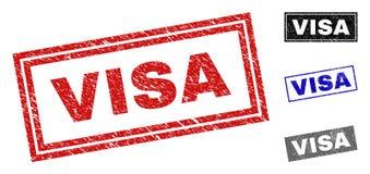难看的东西签证构造了长方形邮票封印 免版税库存图片