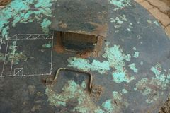 难看的东西腐蚀了生锈的金属水平的背景 图库摄影