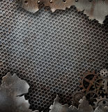 难看的东西金属与齿轮的背景模板和 免版税库存照片