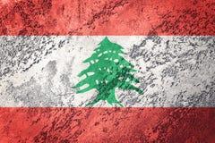 难看的东西黎巴嫩旗子 与难看的东西纹理的黎巴嫩旗子 免版税库存照片