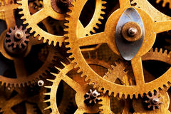 难看的东西齿轮,嵌齿轮转动背景 工业科学 免版税库存图片