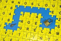 难题信件、钥匙和锁 免版税库存图片