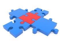 难题十字架在蓝色和红颜色编结 免版税图库摄影