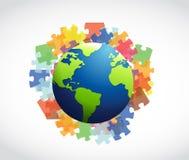难题和地球例证设计 库存照片