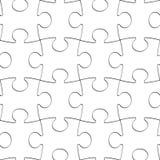 难题白色编结无缝的背景,空白的曲线锯的样式 免版税库存图片