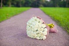 难以置信地白玫瑰美丽的大花束在一条含沙道路的在庭院里 免版税图库摄影