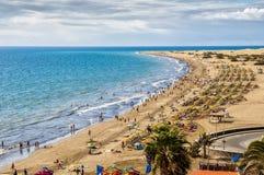 黄雀色伟大的海滩的maspalomas 图库摄影