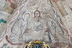 雄伟的基督,一幅哥特式壁画在丹麦教会里 免版税库存图片