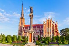 雄伟美丽的三位一体教会在Gervyaty,白俄罗斯 库存照片