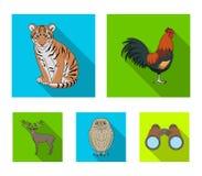 雄鸡、老虎、鹿、猫头鹰和其他动物 动物设置了在平的样式传染媒介标志股票例证的汇集象 免版税图库摄影