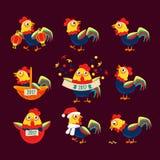 雄鸡与代表新年的中国黄道带标志公鸡的动画片字符集2017年 免版税库存照片