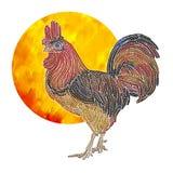 雄鸡和太阳 向量例证