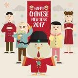 雄鸡和男孩女孩愉快的春节2017卡片 免版税库存图片