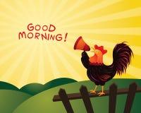雄鸡打鸣和宣布与扩音机,早晨好 免版税库存照片