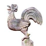 雄鸡木雕刻在白色背景 图库摄影