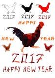 雄鸡隔绝了2017年的多角形传染媒介多角形标志在中国日历 库存照片