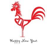 雄鸡雄鸡的农历新年的鸟概念 传染媒介手拉的剪影例证 免版税库存照片