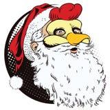 雄鸡面具的圣诞老人 年的标志 占星 库存图片