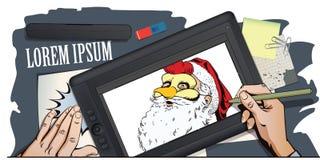 雄鸡面具的圣诞老人 年的标志 占星 皇族释放例证