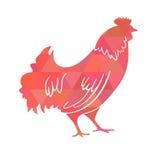 雄鸡 公鸡 抽象商标,象 作为新年的标志的红色在中国日历的2017年 单色例证 免版税库存照片