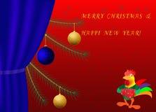 雄鸡年新年圣诞树传染媒介卡片 库存照片