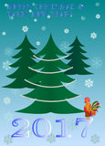 雄鸡年新年圣诞树传染媒介卡片 库存图片