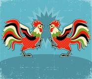 雄鸡fight.vector彩色插图背景 皇族释放例证