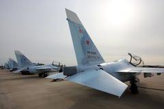 雅克夫列夫雅克-130俄国空军训练飞机行在胜利天游行排练期间的在Kubinka空军基地 免版税图库摄影