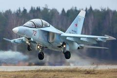 雅克夫列夫雅克-130 RF-81681俄国空军训练航空器在胜利天游行排练期间的在Kubinka空军基地 免版税库存照片