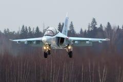 雅克夫列夫雅克-130 RF-81684俄国空军训练航空器在胜利天游行排练期间的在Kubinka空军基地 免版税图库摄影