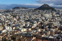 雅典全景从上城的,Attica,希腊 免版税库存图片