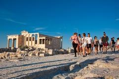 雅典卫城的上面2013年7月1日的在希腊。 库存图片