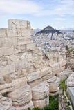 从雅典卫城的看法雅典郊区的 免版税库存照片