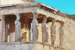 雅典女象柱erechtheum门廊 免版税库存图片