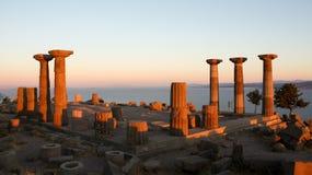 雅典娜寺庙在Assos, Ã ‡ anakkale,土耳其 免版税库存照片