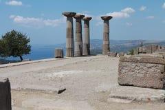 雅典娜寺庙的废墟ASSOS的, CANAKKALE 库存图片