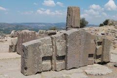 雅典娜寺庙的废墟ASSOS的, CANAKKALE 免版税库存照片