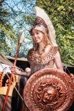 雅典娜战争和智慧的女神在公平矮子的幻想期间 免版税图库摄影