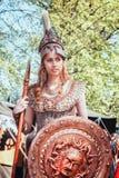 雅典娜战争和智慧的女神在公平矮子的幻想期间 库存照片