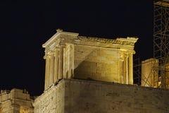 雅典娜照亮了耐克寺庙 库存图片