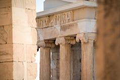 雅典娜耐克寺庙在雅典卫城,希腊 免版税库存照片