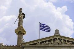 雅典娜雕象雅典科学院的 图库摄影