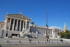 雅典娜Pallada (维也纳, Austr的奥地利parlament和纪念碑 免版税库存图片