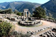 雅典娜Pronea特尔斐希腊寺庙全景  免版税库存照片
