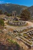雅典娜Pronea特尔斐希腊寺庙  免版税库存照片