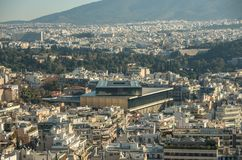 雅典市全景有新的上城博物馆的从上城 库存图片