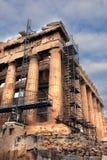 雅典希腊被修理的历史记录帕台农神庙 免版税库存图片