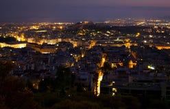 雅典晚上 库存照片